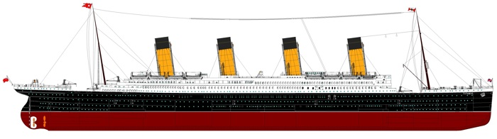the rms titanic, notice the buff and black funnels